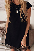 Short Sleeve Loose Round Neck Solid Color Lace Shift Dress