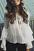 Round Neck  See Through  Plain  Bell Sleeve  Blouses