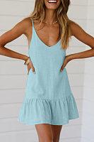 Spaghetti Strap  Plain  Sleeveless Casual Dresses
