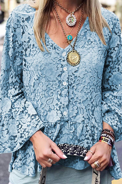 Casual Lace V-Neck Trumpet Sleeve Shirt