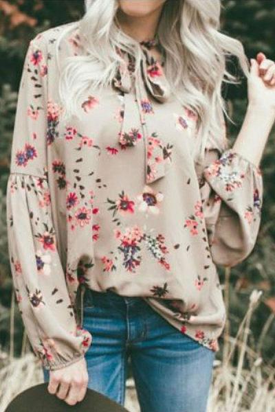 High Neck  Floral Printed  Lantern Sleeve  Blouses