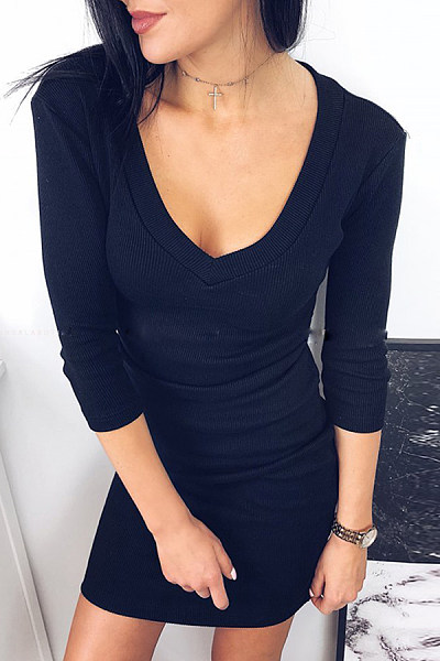 Deep V Neck  Plain  Half Sleeve Bodycon Dresses
