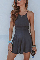 Halter  Plain  Sleeveless  Basic Skater Dresses