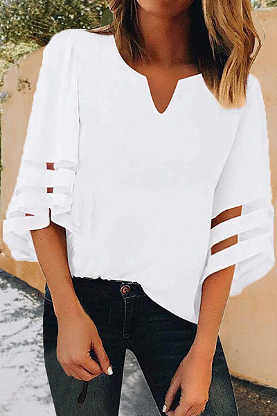 V Neck  Patchwork  Plain  Bell Sleeve Blouses