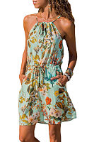 Spaghetti Strap  Belt  Printed  Sleeveless Casual Dresses