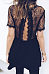 Round Neck  Backless See Through  Lace Plain  Short Sleeve Casual Dresses