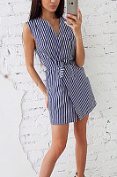 V Neck  Lace Up  Striped  Sleeveless Bodycon Dresses