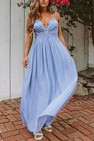 Spaghetti Strap  Backless  Plain  Sleeveless Maxi Dresses
