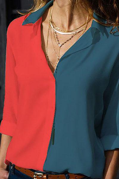 Female Lapel Single Breasted Long-Sleeved Shirt