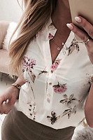 Casual V-Neck Single-Breasted Long-Sleeved Floral Shirt