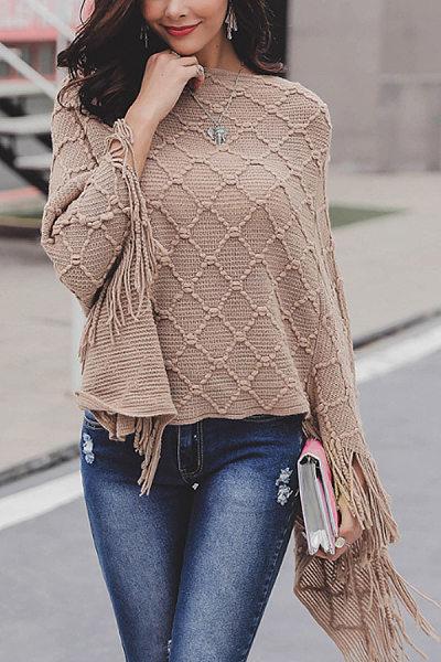Round Neck  Asymmetric Hem Fringe  Plain Sweaters