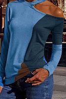Fashion Round Neck Long Sleeve Colorblock T-Shirts