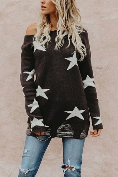 One Shoulder  Asymmetric Hem  Geometric Sweaters