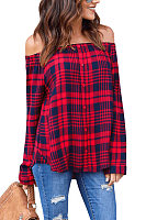 Open Shoulder  Plaid  Blouses