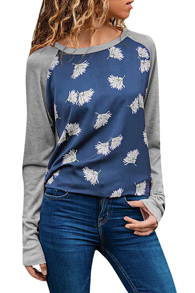 Casual Round Neck Contrast Color Print Long Sleeve T-Shirt