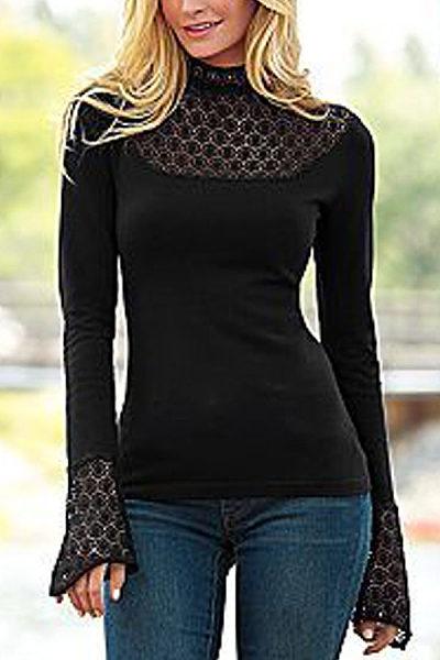 Fashion Lace Stitched Long Sleeve T-Shirt