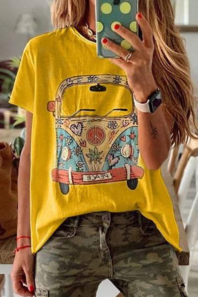 Round Neck Printed   Colour  T-Shirt