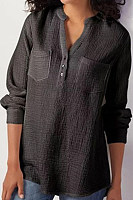 V Neck  Patchwork  Brief  Plain  Long Sleeve  Blouses