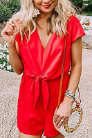 V Neck  Plain  Short Sleeve  Basic Playsuits