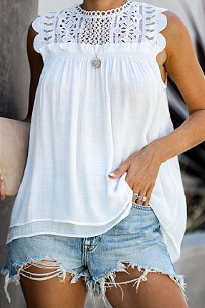 Casual Sleeveless Lace Solid Color Shirt