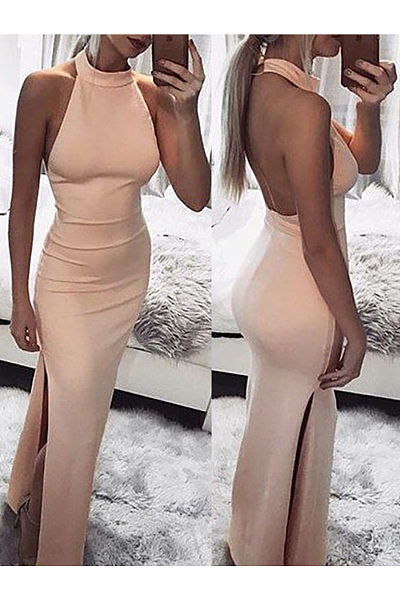 Sexy Halter Slit Vacation Dress