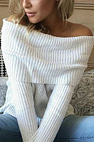 Off  Shoulder  Plain  Sweaters