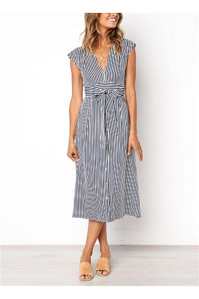 Sexy Deep V Neck Frenulum Slim Strips Vacation Dresses