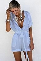 V Neck  Single Breasted  Belt  Plain  Short Sleeve  Playsuits