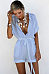 V Neck  Single Breasted  Belt  Plain  Short Sleeve  Playsuits