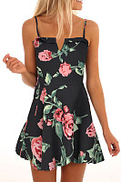Spaghetti Strap  Floral  Sleeveless Skater Dresses