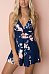 Spaghetti Strap  Backless  Floral Printed  Sleeveless  Playsuits