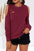Casual Round Neck Solid Color Strapless Long Sleeve Hole T-Shirt