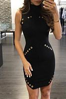 High Neck Rivet Sleeveless Bodycon Dress