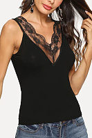 V-Neck Lace Patchwork Vest