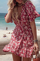 Surplice  Lace Up  Print  Short Sleeve Skater Dresses