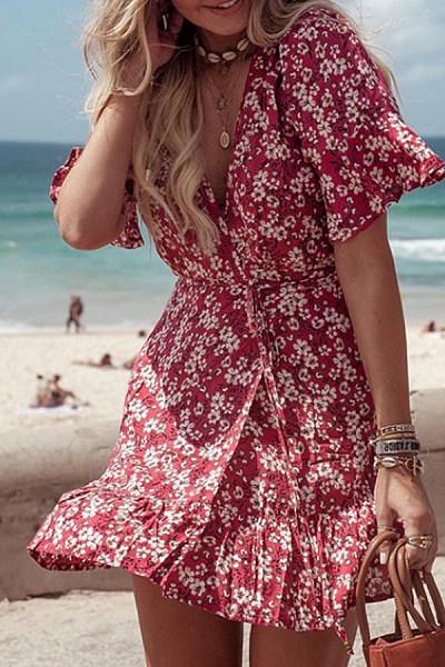 Surplice  Lace Up  Print  Short Sleeve Skater Dresses