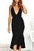 Deep V Neck  Asymmetric Hem  Belt  Plain  Sleeveless Maxi Dresses