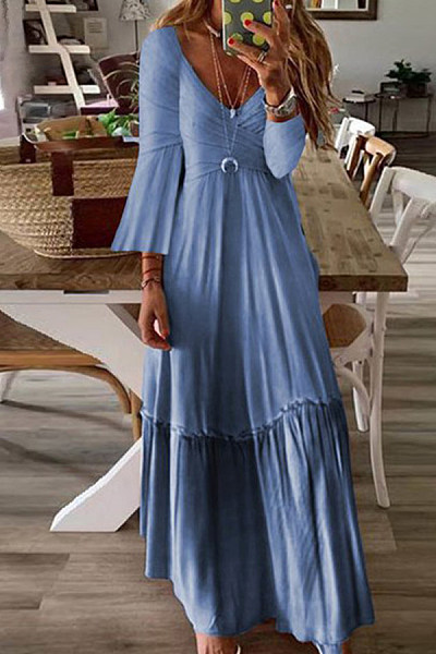 Sexy Fashion Strap V-Neck High Waist Panel Maxi Dress