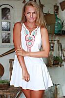 Deep V Neck  Printed  Sleeveless Casual Dresses