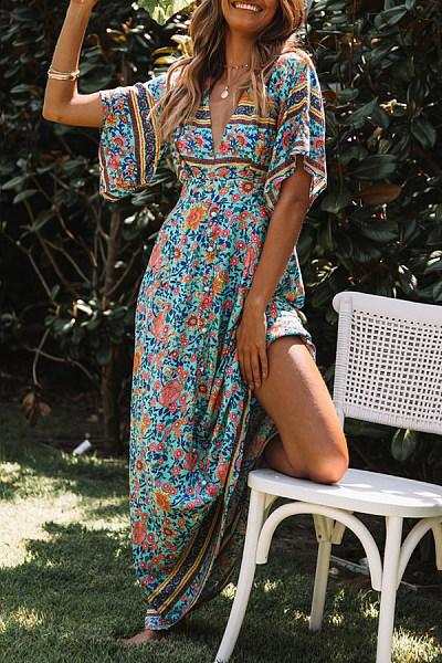 Summer New Positioning Flower Print Floral Short-Sleeved V-Neck High Waist Dress