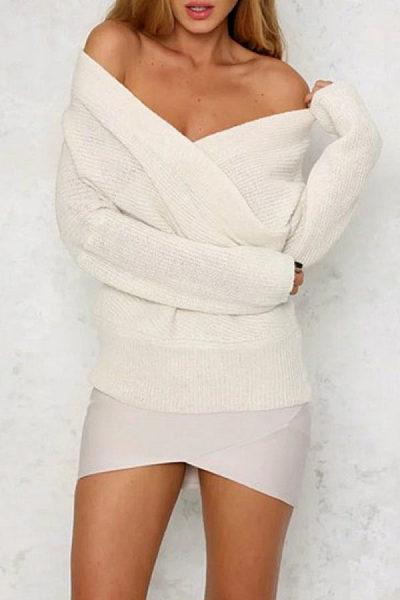 Surplice  Plain  Raglan Sleeve Sweaters