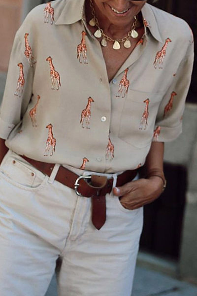 Casual Folded Collar Button Giraffe Print Long Sleeve Shirt