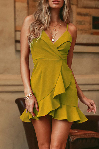 Spaghetti Strap  Backless  Plain  Sleeveless Casual Dresses