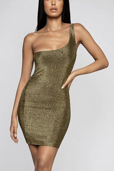 Sexy One-Shoulder Sleeveless Gold And Silver Bright Color Hip Dress