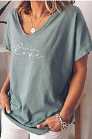 Casual V Neck Short Sleeve Letter T-Shirt