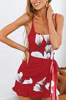 Spaghetti Strap  Belt  Floral  Sleeveless Bodycon Dresses