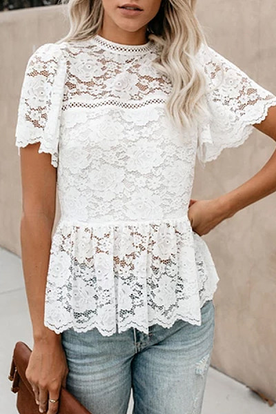 Sexy Round Neck Solid Color Lace Short-Sleeved Slim Ruffled Blouses