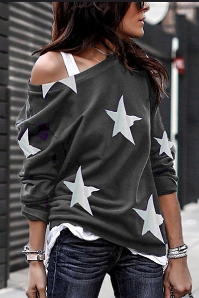 Open Shoulder Stars Printed T-Shirts