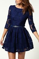 Round Neck Belt Skater Dress