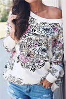 One Shoulder  Backless  Printed   Sweatshirts